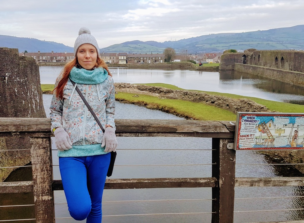 Posing with Caerphilly castle.